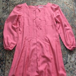 Vintage pink silk bow dress size Small